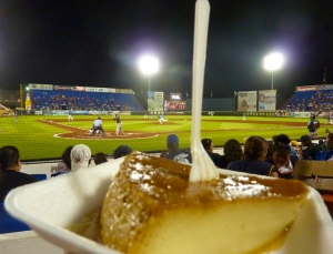 Not only beer, margaritas, hotdogs and burritos - but flan! And a baseball game.