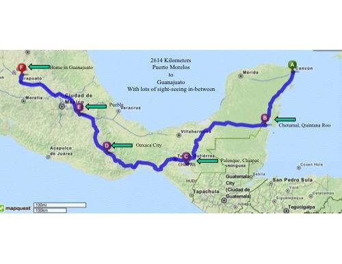 2614 kilometers ~ 1625 miles from Puerto Morelos to Guanajuato